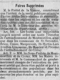 Article Foires supprimées à cause des épidémies Mai 1926