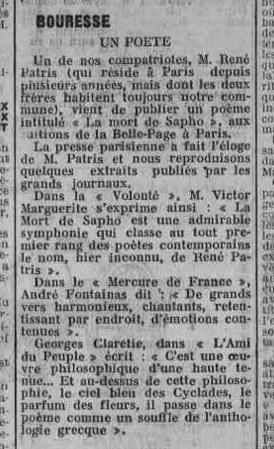 Article de presse La Semaine Ecrivain et poète René Patris d`Uckerman, Bouresse 1931 AD 86 p.29