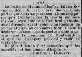 Article pas de cas de suette miliaire à Montmorillon Mai 1926