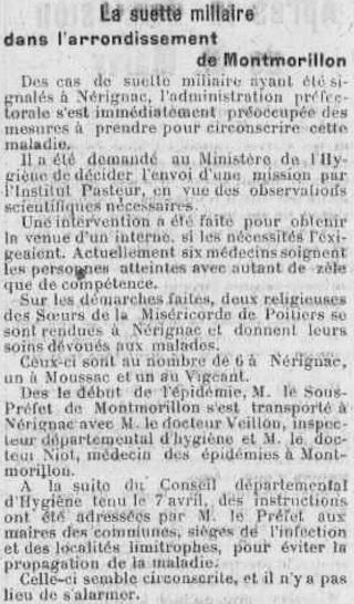 Article suette miliaire La semaine du 3 janvier 1926 au 27 juin 1926
