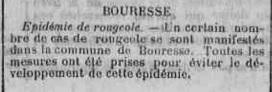 Article sur l`épidémie de rougeole ou suette miliaire à Bouresse avril-mai 1926