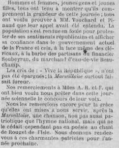 Fête nationale à Bouresse, juillet 1887 -La Semaine-L`avenir de la Vienne, article écrit dans la presses locale du Poitou - Archives Départementales 86 (2)