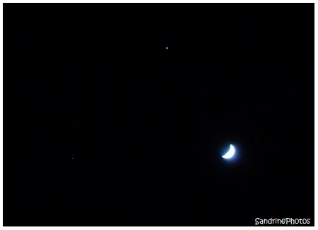 La Lune, Jupiter et Aldébaran de la constellation du Taureau, Jupiter, The Moon and Aldebaran star, Dimanche 17 mars 2013, Bouresse, Poitou-Charentes (17)