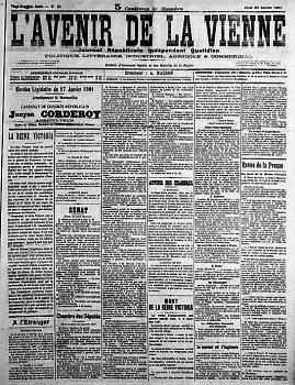 L`Avenir de la Vienne - 1ère page - journal républicain indépendant quotidien- Poitou