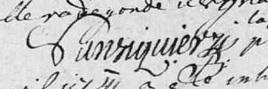 Signature Nicolas Sansiquier procureur fiscal 1741, Bouresse, Poitou-Charentes 86