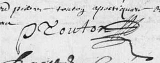Signature Touton Pierre, apothicaire Bouresse, 1668