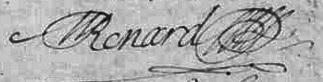 Signature d`Antoine Renard 1694, Bouresse, Poitou-Charentes, 86