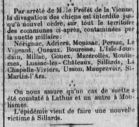 Suette miliaire dans l`arrondissement de Montmorillon, dernier article, 27 juin 1926 7ème partie