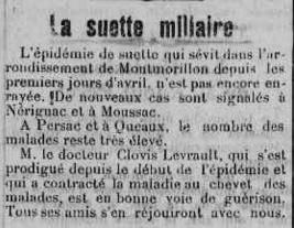 Suette miliaire dans l`arrondissement de Montmorillon, juin 1926