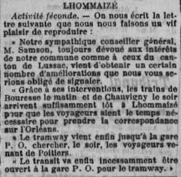 Trains départementaux, Ligne Châtellerault-Bouresse dans la Vienne, Première Guerre Mondiale, 1922 - 1933 (4)