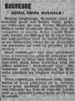 Union musicale de Bouresse, dissolution de l`association, 6 décembre 1936 La Semaine supplément de L`Avenir de la Vienne p.85